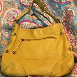 "J Crew yellow ""hobo"" handbag w. great pockets!"